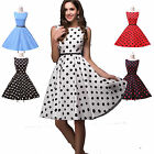 NEW POLKA DOT/CHERRY/BLACK&WHITE GRID 1950s VINTAGE ROCKABILLY PINUP SWING DRESS