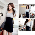 Women's Long Sleeve Contrast Patchwork Scoop Neck Bodycon Slim Mini Dress Party