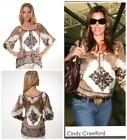 Hale Bob Top Blouse Silk Chiffon Tunic NWT Printed Ivory Brown Seen on Celebrity