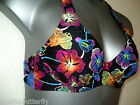Bikini Top Halter  Black Multi Floral RESORT Unpadded Underwired NEW DK531