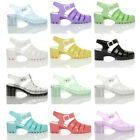 WOMENS LADIES RUBBER JELLY BLOCK FLIP FLOP MID HEEL BABE 80'S SANDALS SHOES SIZE