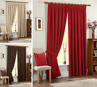 CHENILLE CURTAINS - Plain Pencil Pleat Fully Lined Taped Curtain Pair