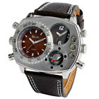 OULM Military Army Dual Time Zones Movements Quartz Watch Leather GIFT Mens