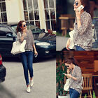 Lady Women Korean Fashion Sexy Leopard Tin Chiffon Long Sleeve Shirt Top Blouse