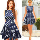 Fashion Womens Vintage Polka Dot Sleeveless Ball Prom Party Flare Pleated Dress