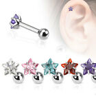 New 1x Surgical Steel Star Gem Tragus Cartilage Bar Stud Choose Colour