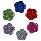 Colour Glitter Flower Shape Buttons - Colour and Size Choice