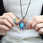 Blue Champagne Moon Crystal Sweater Chain Ajustable Charm Pendant Necklace SSUS