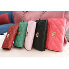 Korea Fashion Women's Leather like Clutch Purse Long Quilted Lock Wallet Holders