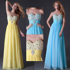 Beaded Prom Off Shouder Long Formal Chiffon Bridesmaids Evening Graduation Dress
