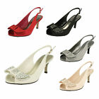 F10253- Ladies Sling Back Glitzy Heels, Perfect For A Wedding! 3 Colours.