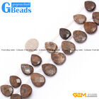 Natural Bronzite Jasper Gemstone Top-Drilled Faceted Drip Beads Free Shipping