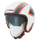 Spada Raze Vecta White Orange Open Face Motorcycle Helmet Inner Visor Crash Lid