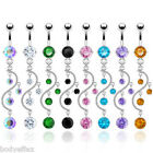 SEXY 316L SURGICAL STEEL RING VINE DANGLE NAVEL BELLY RING WITH MULTIPLE CZ'S