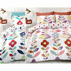 Floral Retro Duvet Quilt Cover - Reversible Cotton Rich Bed Set & Pillow Case