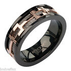 CLASSY MENS INOX SILVER BLACK ROSE GOLD IP 316L STAINLESS STEEL CABLE BAND RING