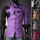 Luxury Mens Designer Long Sleeve Slim Fit Formal Casual Dress Shirts Stylish Top