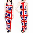 New Womens Ladies Union Jack Flag UK Print Muscle Racer Back Maxi Dress Size 8 S