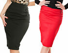 PENCIL SKIRT - 1950s Retro Vintage Pin-Up Wiggle style - Red Black UK8 to UK14