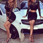 Sexy Women Long Sleeve Lace Club Two Piece Cocktail Party Long Maxi Dress Black
