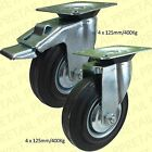 4 x MAX 400Kg SWIVEL/BRAKED CASTOR WHEELS 125mm LARGE Sack Truck/Trolley Casters