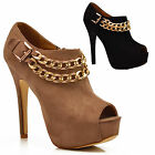NEW Ladies Gold Chains Ankle booties Peep Toe Stiletto Platform Heels Shoes Size