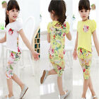Baby Girls Toddler Floral Tops +Pants Outfit Short T-Shirt Summer Tees Clothes