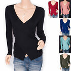 Free Necklace Knit Stretchy Cross Bust V-Neck Ribbed Blouse Top