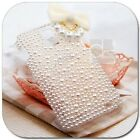 White Pearl Bow Ribbon Bling Rhinestone Crystal Hard Skin Case Cover For Samsung
