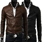 US Stock Fashion Men Faux Leather Slim Fit Outwear Stylish Warm Coats Jackets