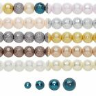 Lot of 2 Strands Bumpy Textured Stardust Round Glass Pearl Beads Small - Big