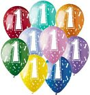 """9 or 18 pc 11"""" #1 Latex Balloon Happy Birthday Party Baby One First"""