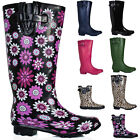 EXTRA WIDE CALF FITTING WELLIES WELLINGTON KNEE HIGH BLACK FLOWER WOMENS BOOTS