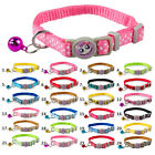 Nylon Kitten Kitty Cat Collar with Bell Various Colors 17-28cm Ajust 1.0cm Wide