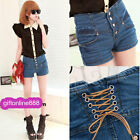 Summer fashion Women shorts Jeans The Waist Behind Tether Jeans Shorts 858