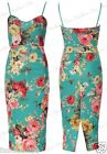 Womens Ladies Plus Size Multi Colour Floral Print Strapy Bodycon Midi Dress