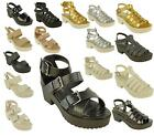 Womens Ladies Caged Gladiator Strappy Mid Heel Chunky Platform Sandals Shoes Fla