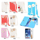 Diamonds PU Leather Flip Wallet Case Cover For Samsung Galaxy S3 S4 i9300 i9500