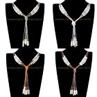 New Fashion Jewelry Charm Multicolor Seed Beads DIY Tie Long Chain Bib Necklace