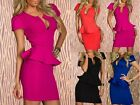 women V Neck Cocktail Prom Evening party pencil Dress Frilled BodyCon Dress Sexy