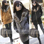 New Women Lady Girls Casual Cotton Long Sleeves Leopard Hooded Coat Colors Pick
