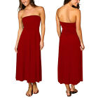 A-line Chic strapless Jersey Cocktail Party Day Dress Convertible Skirt Scarlet