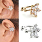 CZ Crystal Gem Flower Horseshoe Bar Clip Ear Studs Cuff Womens Earring Cartilage