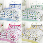 Girls Butterfly Bedding - Reversible Polka Dot Cotton Rich Duvet Cover Bed Set