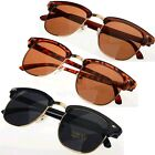 Classic Black Brown Clubmaster Wayfarer Half Metal Frame Shades Sunglasses UV400