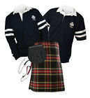 Sports Kit Essential 8yd Kilt Outfit - 2-Stripe Rugby Top - Stewart Black