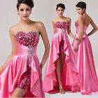 Luxury High-Low Hem Bead Wedding Bridesmaid Evening Dress Prom Gown Party Dress