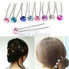 Crystal Shiny Rhinestone Diamante Hair Pins Clips Wedding Bridal Prom Party Gift