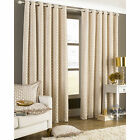 Chenille Chain Eyelet Curtain – Fully Lined Jacquard Ring Top Beige Curtain Pair