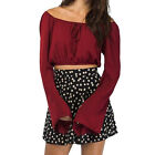 Sexy Women Lacing Off Shoulder Elastic Waist Flare Sleeve Slim Short Crop Blouse